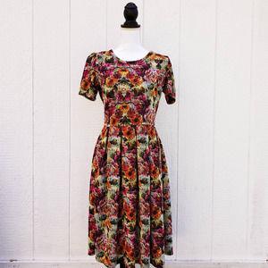 Lularoe Amelia Fit and Flare Dress Zip Up Back